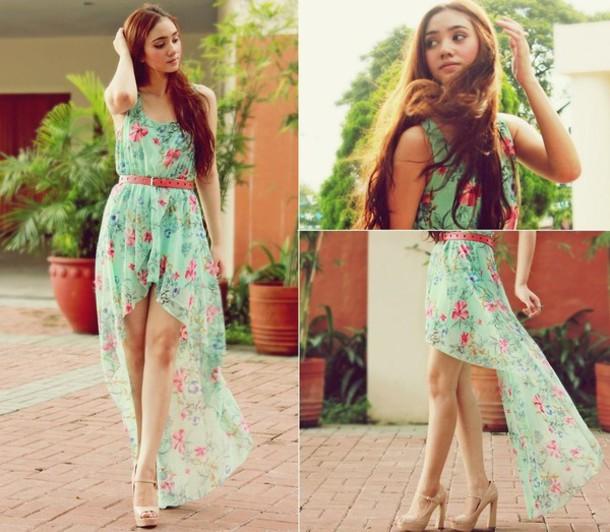 dress sea-green flowers floral dress sea green dress pink flowers pink belt maxi dress