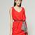 Red/Black Short Sleeve V Neck Fashion Midi Dress : KissChic.com