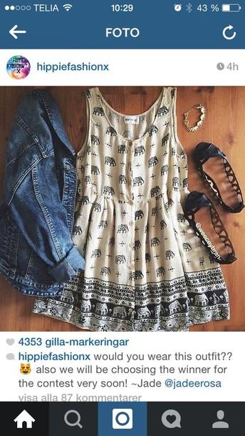 dress denim jacket jeans elephant hippie boho dress black shoes shoes jacket