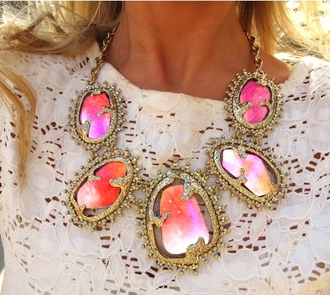 collier jewels yellow jewels necklace geometric galaxy print jewelry coloured stones