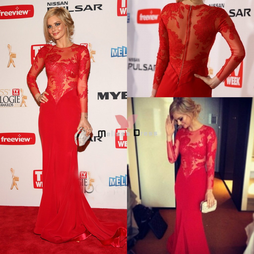 Fashionable Lace Top Splice Red Lace Mermaid with Court Train Evening Dress Full Sleeve Red Carpet Women Gown-in Evening Dresses from Apparel & Accessories on Aliexpress.com