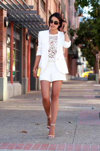 viva luxury top bag jacket shoes sunglasses jewels clutch metallic clutch gold clutch shorts white shorts white top blazer white blazer sandals high heel sandals white sandals blogger spring outfits all white everything all white outfit