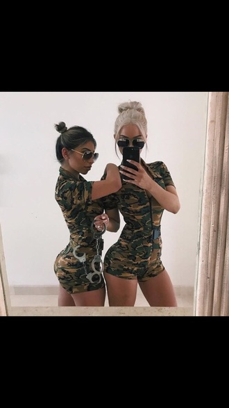 jumpsuit army print army green halloween halloween costume sexy bodysuit green camouflage army pants