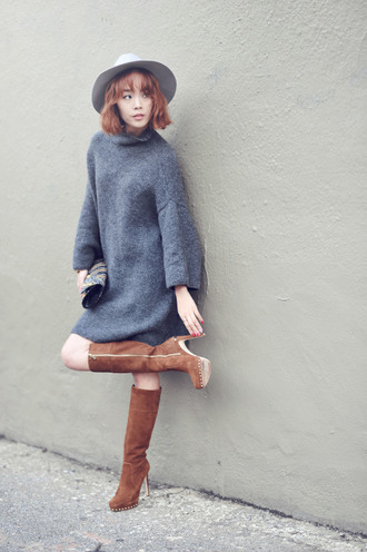 jullianne blogger hat sweater dress winter dress grey dress suede boots grey knit dress knitted dress boots brown boots
