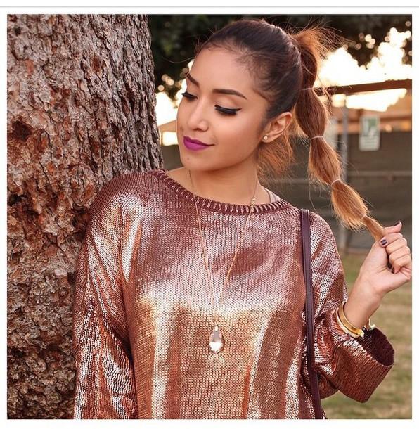 sweater top metallic pink winter sweater sequins