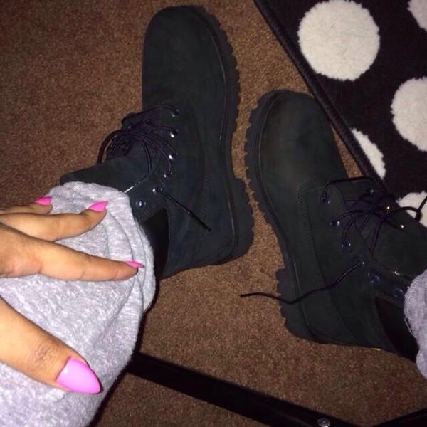 shoes black black timberlands timberlands