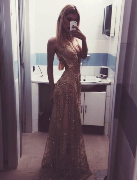 dress gold long dress long prom dress
