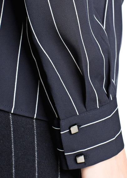 MANGO - NEW - Pinstripe wrap blouse