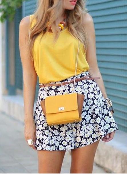 skirt white skirt fashion floral dress floral skater skirt floral flowers yellow yellow skirt sunflower pattern navy dress navy dress navy floral skater skirt