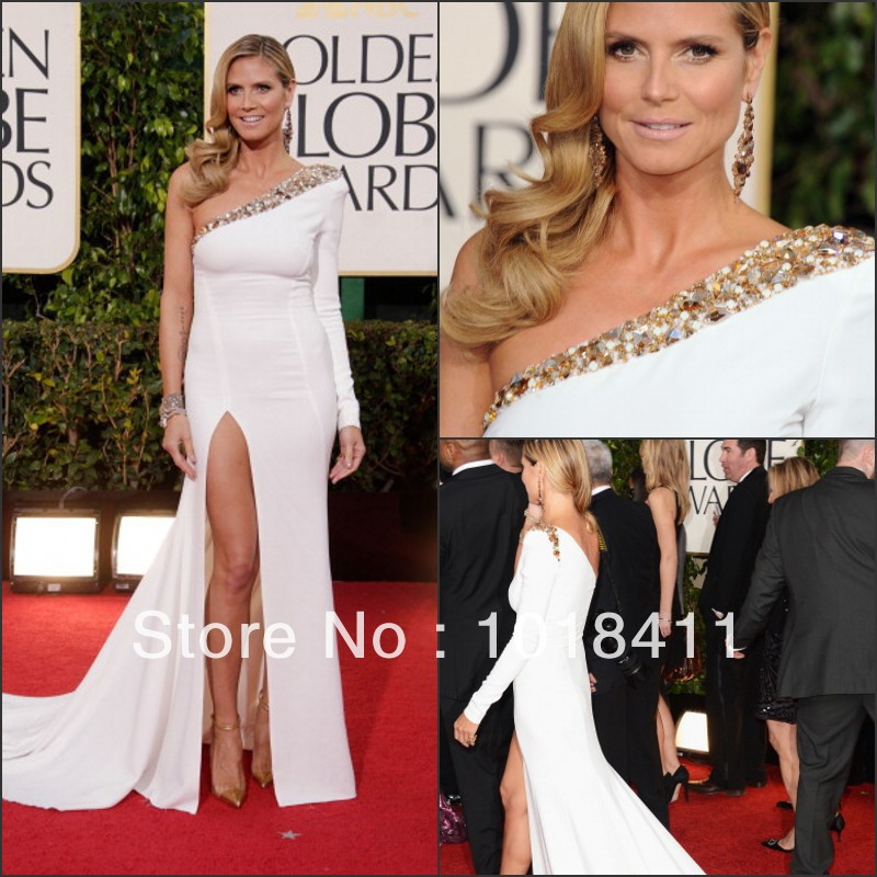 2013 Fashion 70th Golden Globe Awards dress One Shoulder Beaded Heidi Klum Evening Dresses Celebrity Gowns Exquisite Hot Sale-in Celebrity-Inspired Dresses from Apparel & Accessories on Aliexpress.com