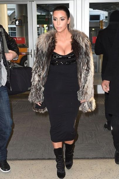 fur fur coat kim kardashian black dress sexy dress black boots