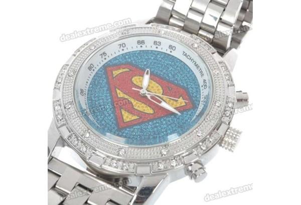 jewels watch silver watch superman silver rhinestones crystal swarovski