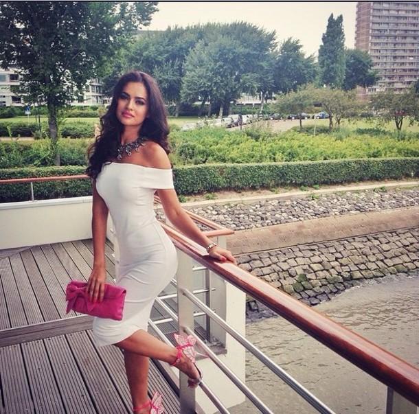 dress off the shoulder dress white dress offshoulder casual dress shoes