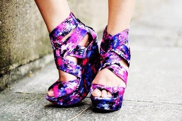 shoes floral wedges purple galaxy print high heels