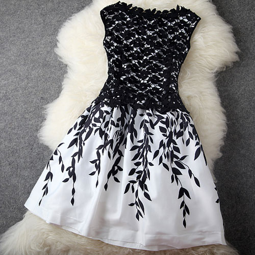 Leaf Print Sleeveless Crochet Lace Slinky Skater Dress [grxjy560924] on Luulla
