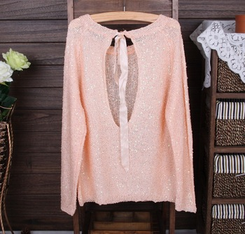 Hot sale 6Color 2013 Autumn NEW BRAND Knitted Sweater Women bowknot Large size Loose long sleeves Cardigan Sweater,Free shipping-in Pullovers from Apparel & Accessories on Aliexpress.com
