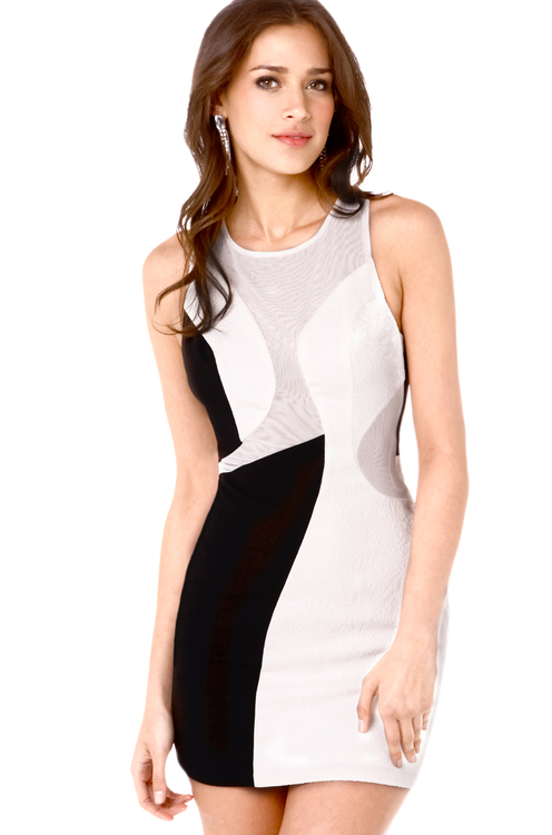 Mesh Mix Bodycon Dress in Black Off White