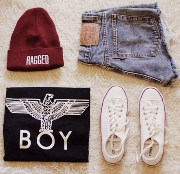 tank top beanie boy eagle girl denim hotpants burgundy converse perfect combination boy london shorts