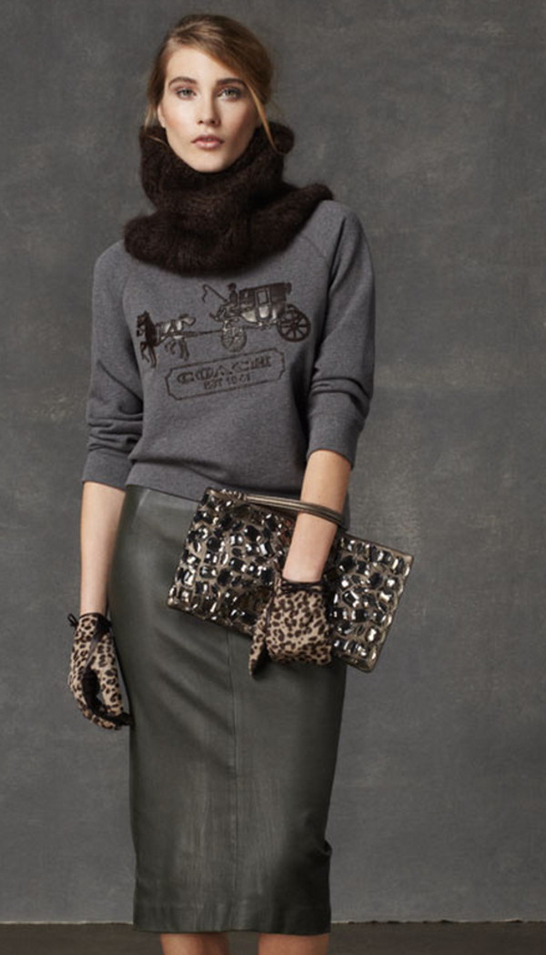 sweater coach lookbook fashion scarf bag skirt