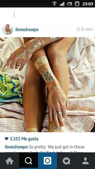 make-up temporary tattoo fake tattoos golden tattoo