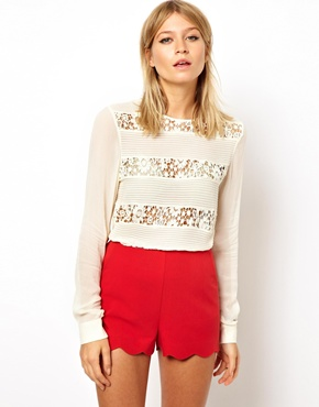 ASOS | ASOS Premium Top with Heavy Lace and Pintuck Panels at ASOS