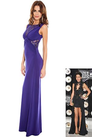 Crochet Lace Insert Sleeveless Jersey Maxi in the style of Selena Gomez