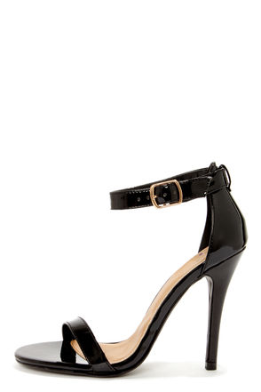 My Delicious Chacha Black Patent Single Strap High Heels - $22.00