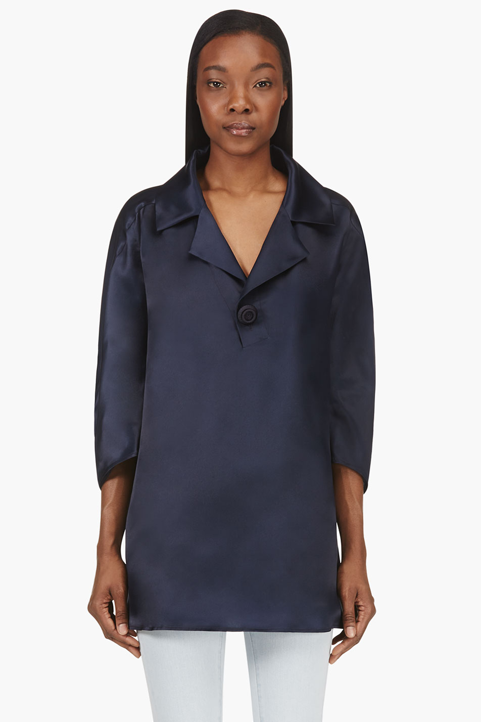 dsquared2 navy oversized silk tunic