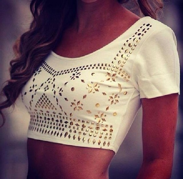 t-shirt crop top crop tops crop tops gold white top fashion clothes clothes pattern sweet nice