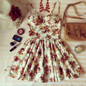 Super Cute Floral Bustier Dress Size XS M   eBay