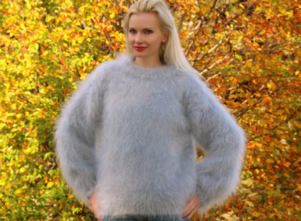sweater hand knit made mohair crewneck supertanya fluffy fluffy soft