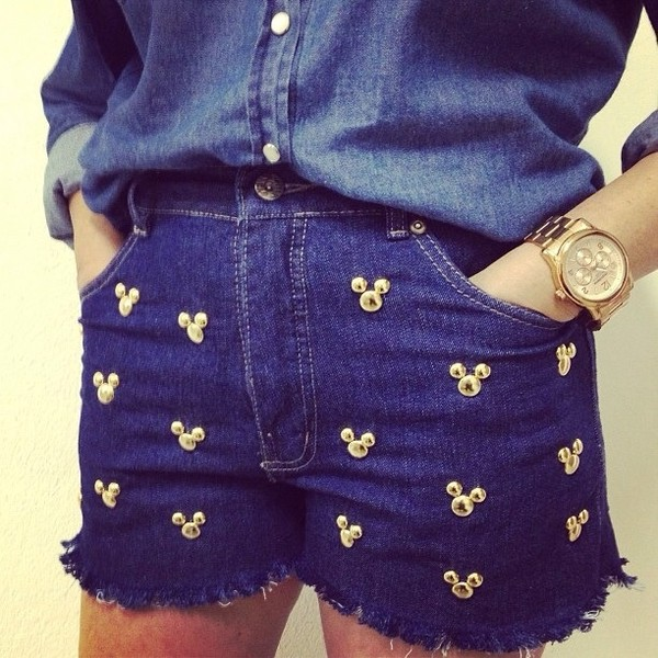 shorts mickey mouse disney mickey mouse minnie mouse minnie mouse mouse denim studs gold blue blue shorts denim shorts high waisted denim shorts