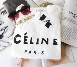 t-shirt celine white black sunglasses dope tumblr grunge hipster shirt jewels