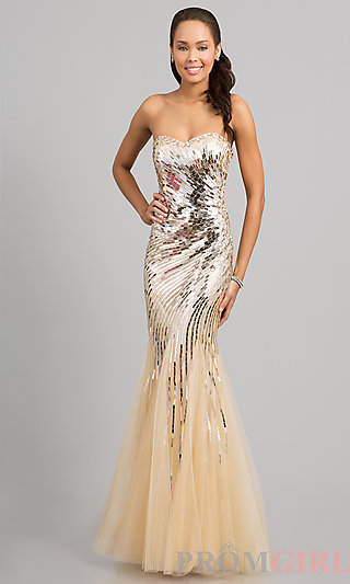 Strapless Sequin Mermaid Gown, Pageant Gowns- PromGirl