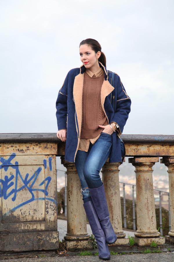 irene's closet coat shoes shirt sweater bag jeans