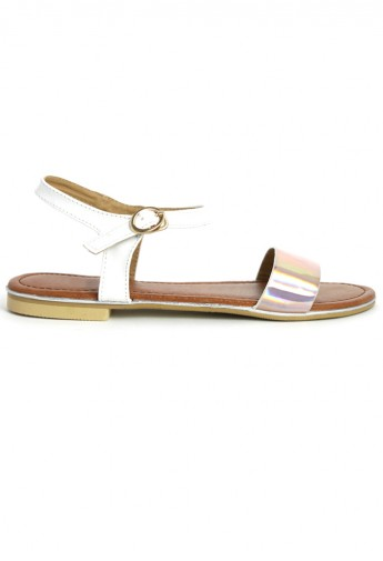 Pink Holographic Flat Sandals - Retro, Indie and Unique Fashion