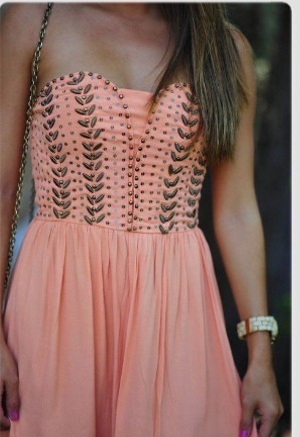 dress beading strapless dress