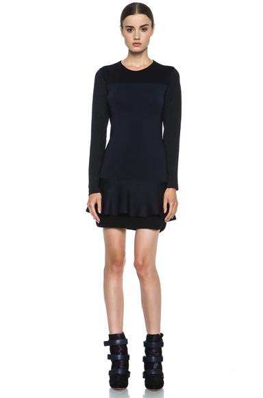 Isabel Marant Adams Wool-Blend Dress in Black & Midnight