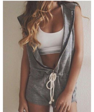 romper romper shorts grey hoodie hooded zip zip-up sweats sleeveless style fashion girly girl summer cute rompers cute cute outfits long hair crop tops crop cropped white crop tops white white top outfit outfit idea tumblr outfit drawstring top cute top pretty comfy comfy and cute cute  outfits trendy