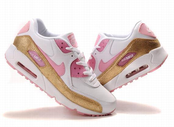 Women Nike Air Max 90 Running White Pink Gold - $43.85