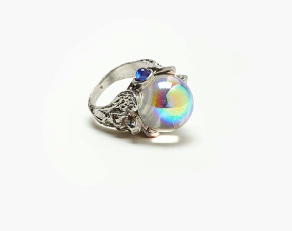 jewels crystal ball ring silver dome holo gems holographic