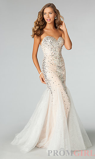 Strapless Sequin Gowns, JVN by Jovani Sequin Prom Dress- PromGirl