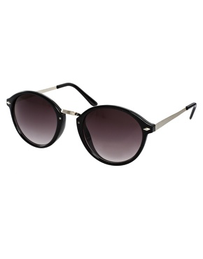 ASOS   ASOS Retro Sunglasses With Metal Bridge Detail at ASOS
