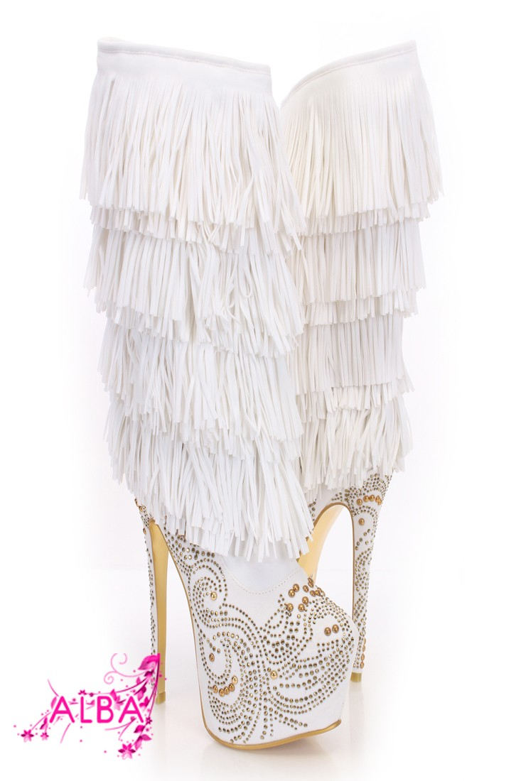 White Gold Rhinestone Fringe Mid Calf Boots @ Amiclubwear Boots Catalog:women's winter boots,leather thigh high boots,black platform knee high boots,over the knee boots,Go Go boots,cowgirl boots,gladiator boots,womens dress boots,skirt boots,pink boots,fa