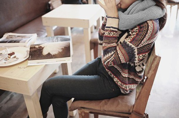 sweater stripes pattern warm fall outfits fall outfits pinterest hipster triangles cozy oversized sweater boyfriend sweater