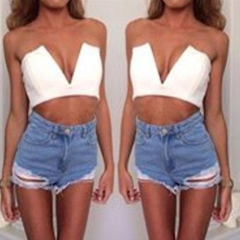 New Women Trends Sexy Strapless Deep V Neck T Shirt Crop Blouse Tops Black White   eBay