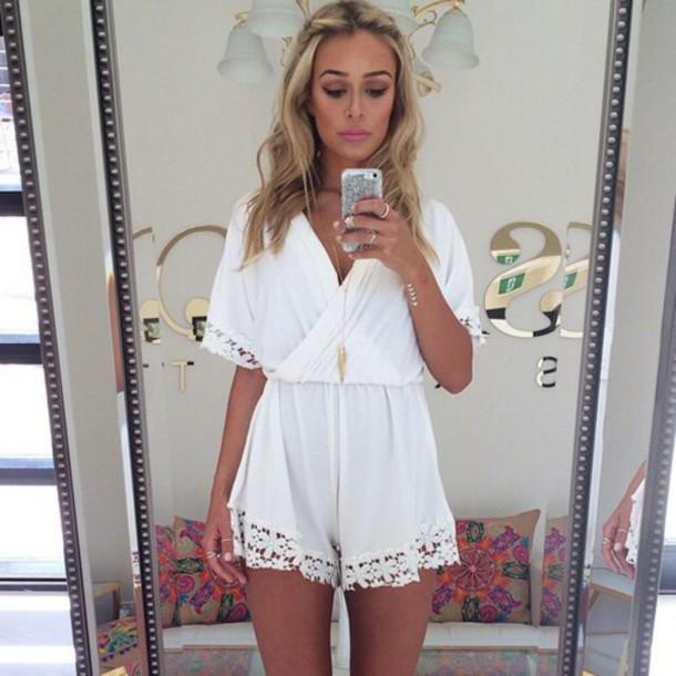jumpsuit white dress glamour glamour fashion underwear white romper white lace playsuit white romper