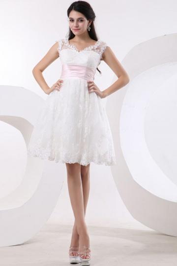 Empire Knee length Sleeveless Ivory Wedding dress with sash [WBCF1872]- US$ 160.99 - PersunMall.com
