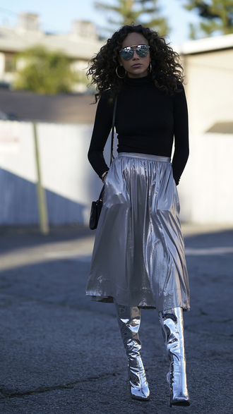 skirt blogger ashley madekwe boots silver metallic top pleated pleated skirt