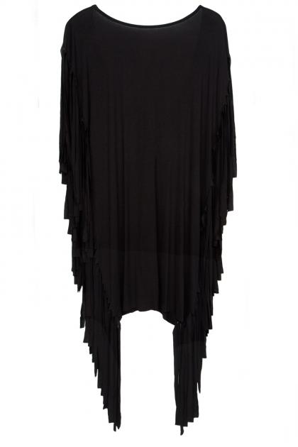 Black Fringed Mini Dress  - Fashionnoiz